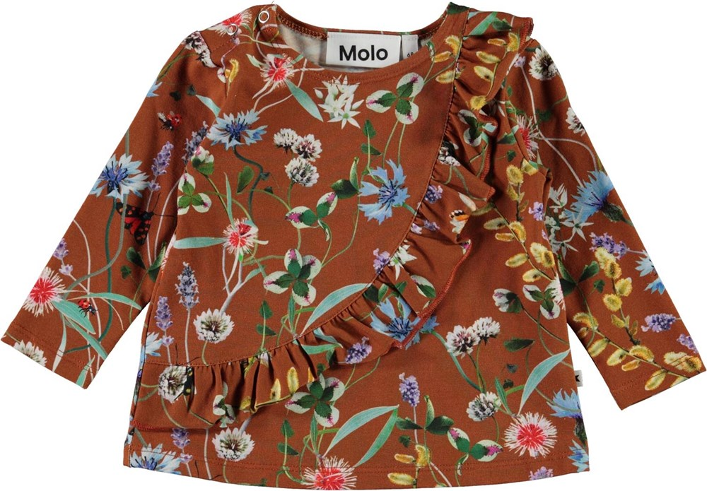 Evelyn - Wildflowers - Brown baby top with flowers and ruffle