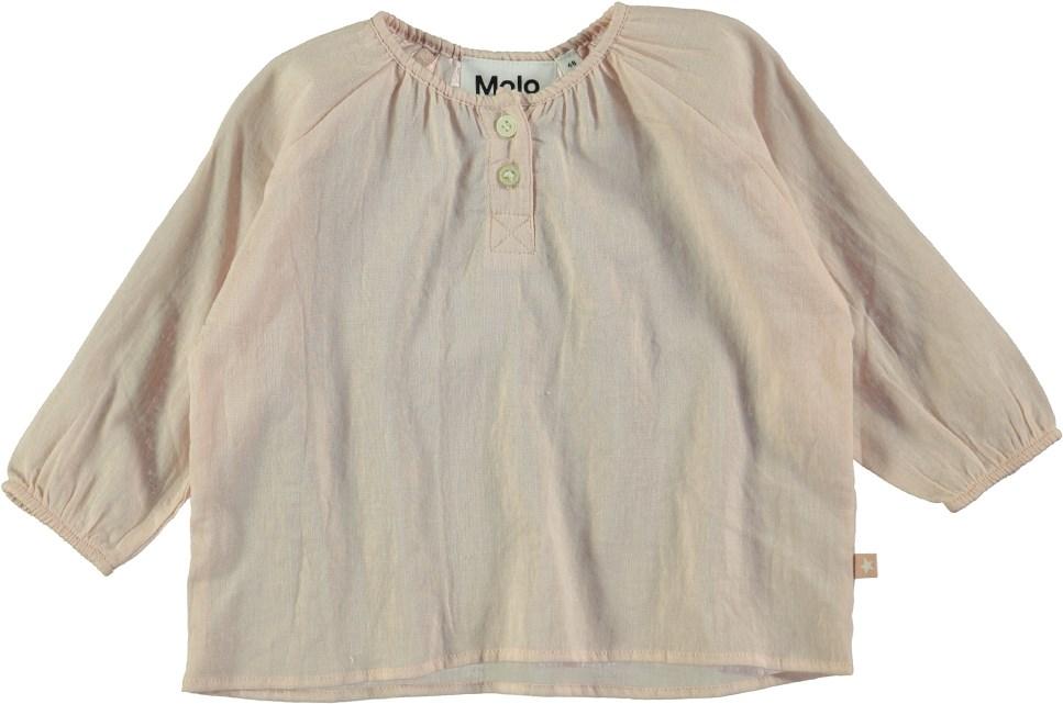 Rosemary - Peach Puff - Long sleeve peach coloured baby t-shirt