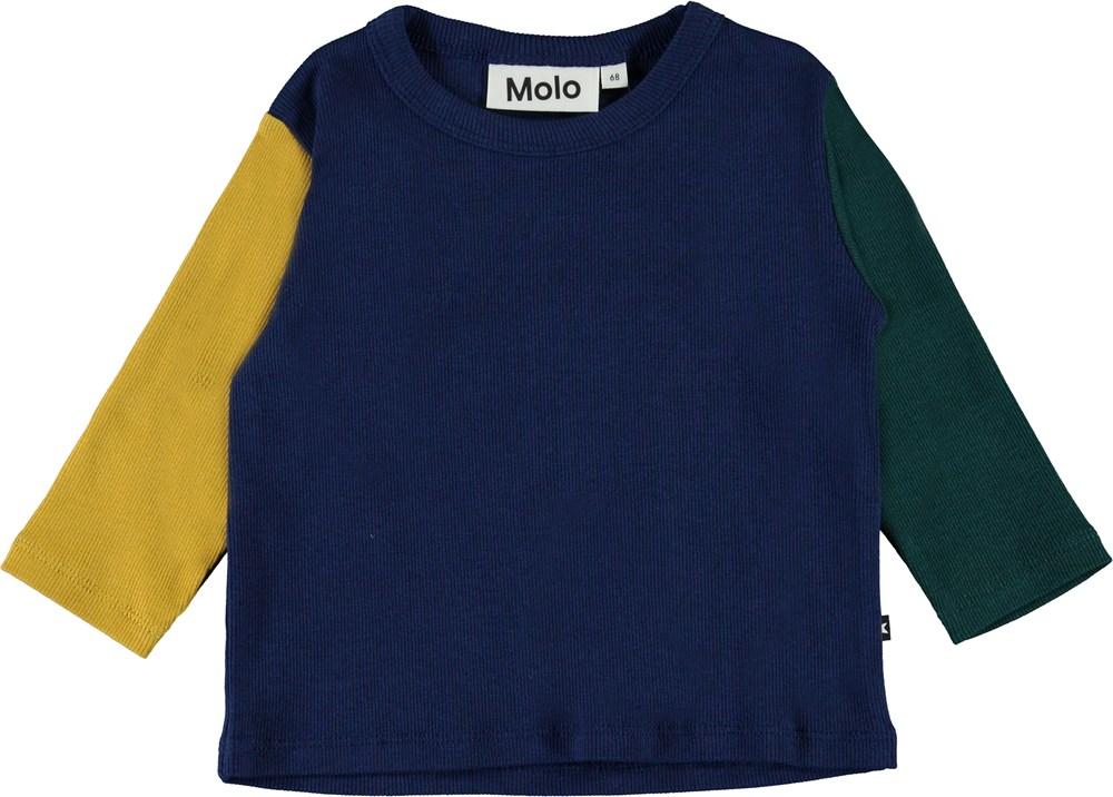 Elvo - Colour Block - Babyshirt in kleurrijke blokken in ribstof