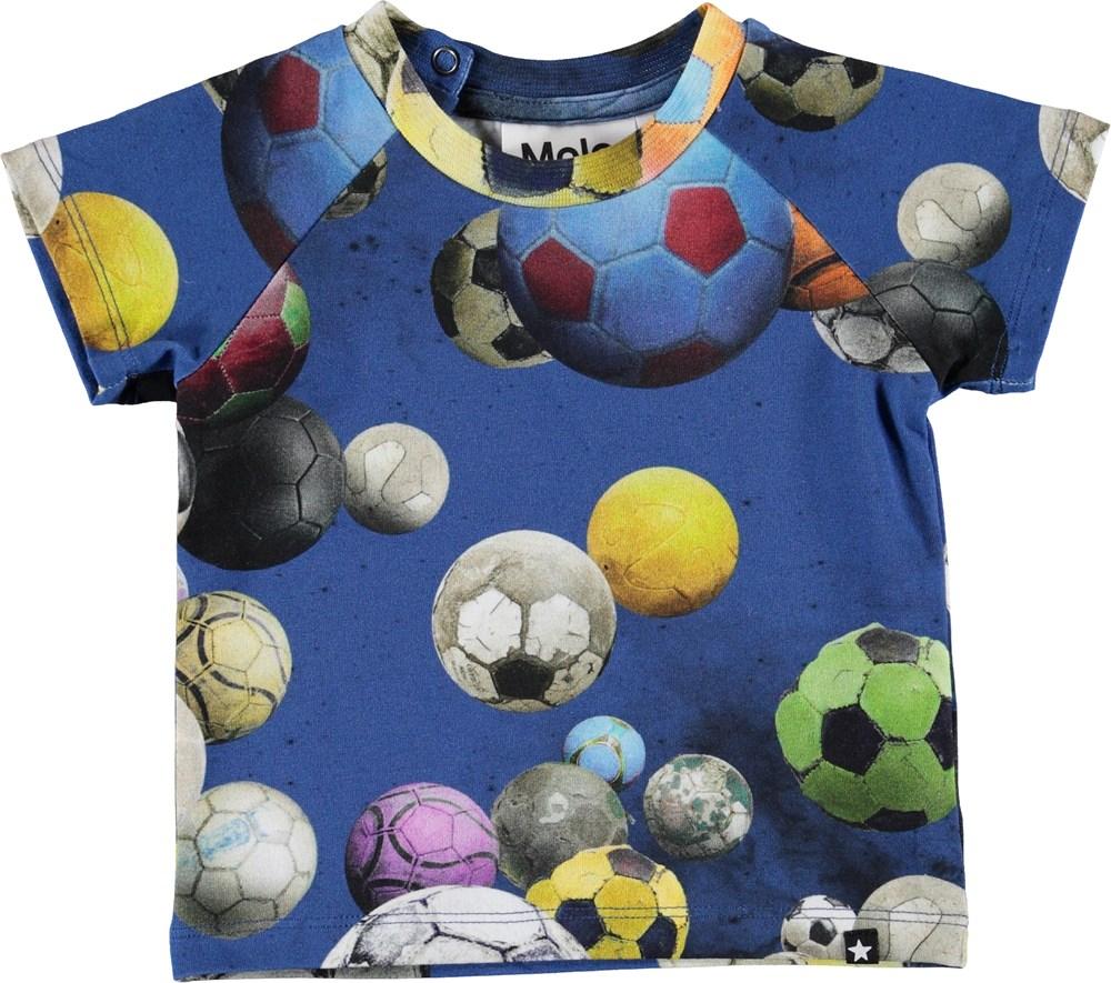 Emmett - Cosmic Footballs - Baby t-shirt met voetballen.