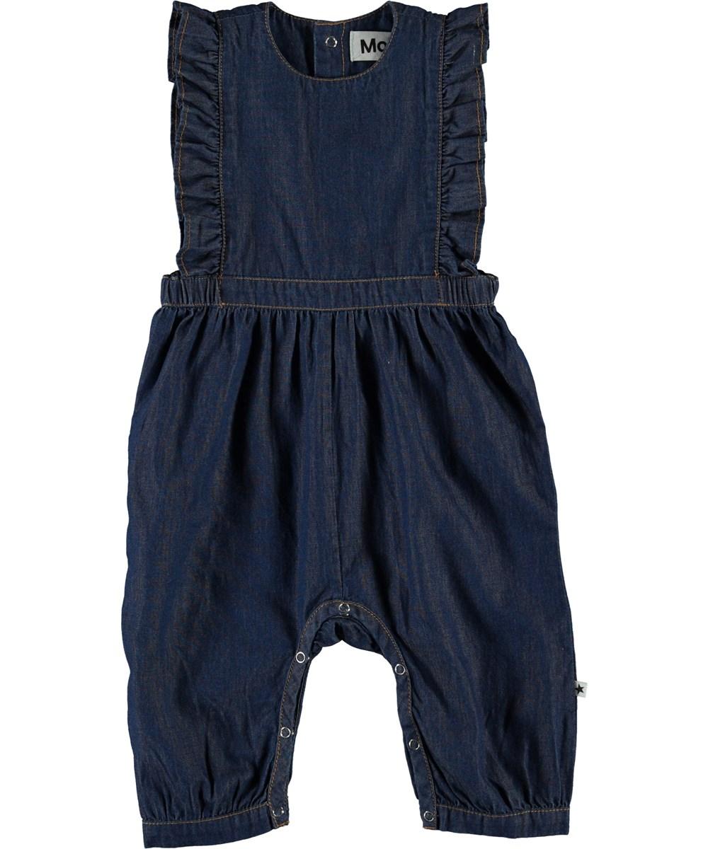 Fabia - Washed Indigo - Blå denim baby dragt