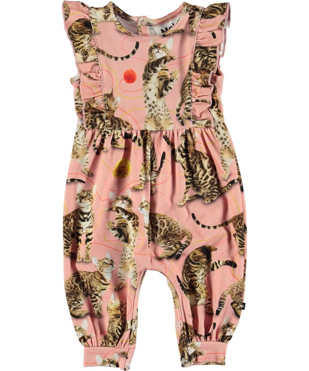 Fallon - Wannabe Leopard - Lyserød baby dragt med katte.