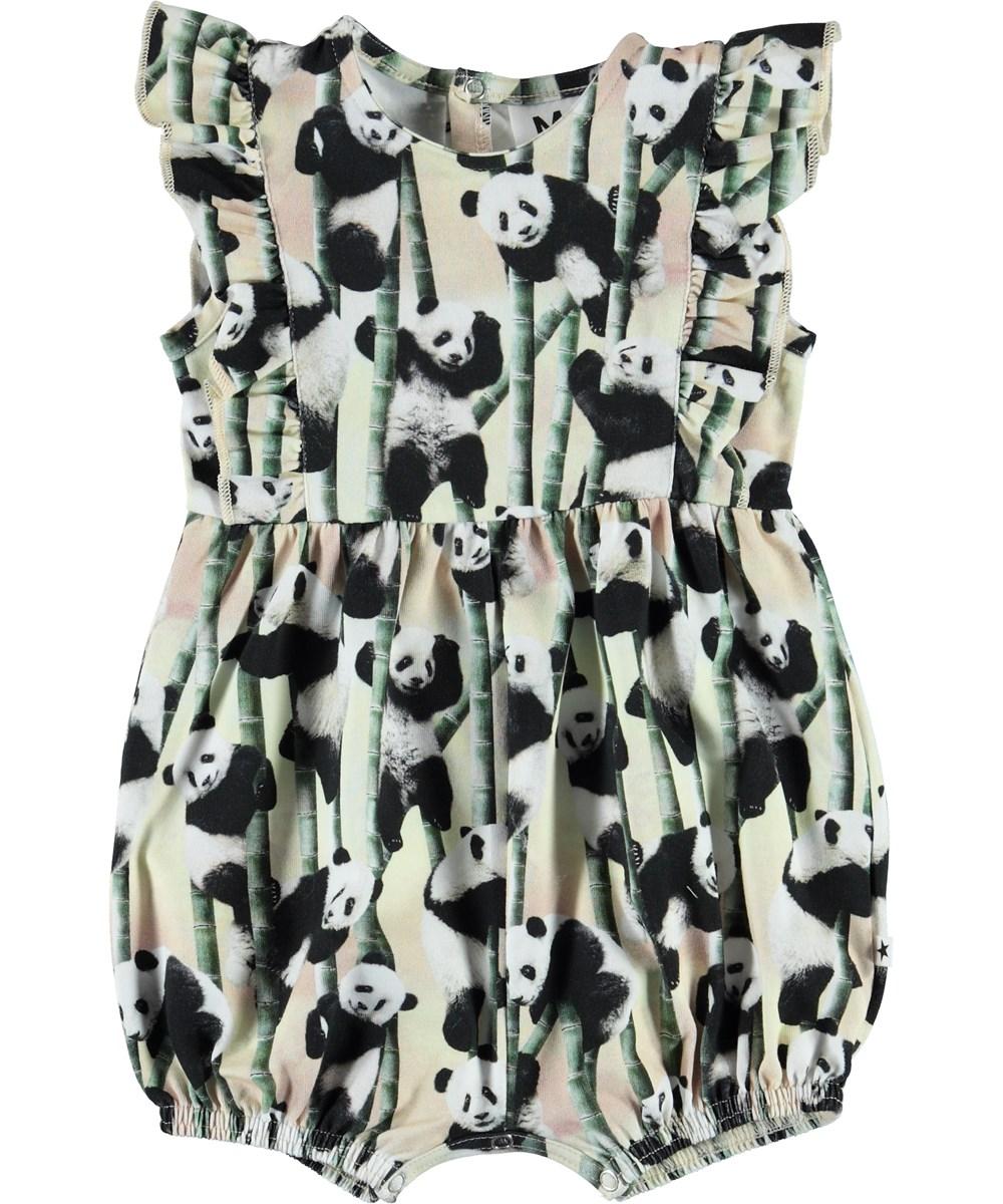 Felicia - Yin Yang - Økologisk baby dragt med pandaer