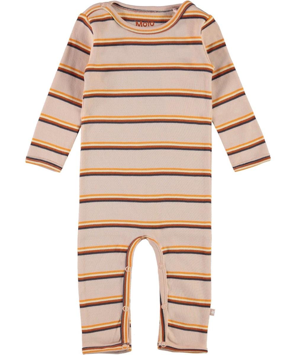 Fenez - Cameo Stripe - Økologisk baby dragt i lyserød med striber