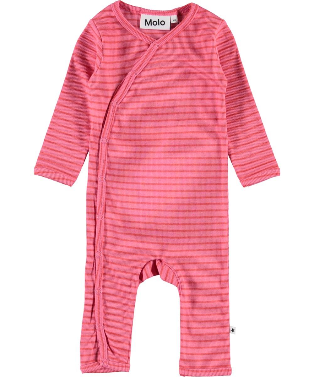 Flora - Pink Sienna Stripe - Baby dragt med pink og røde striber