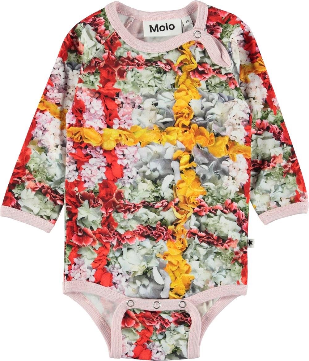 Fonda - Checked Flowers - Baby body med bloster i tern.