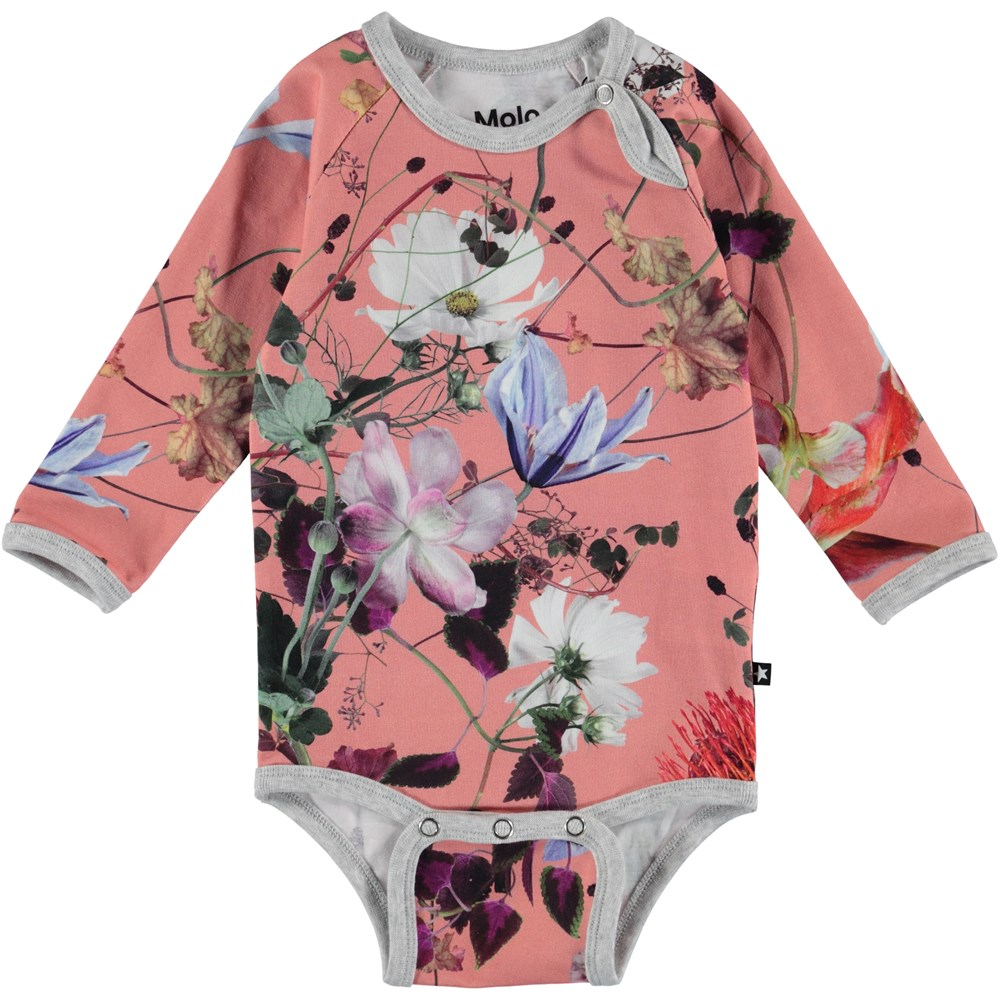 Fonda - Flowers Of The World - Blomstret baby body med lange ærmer.