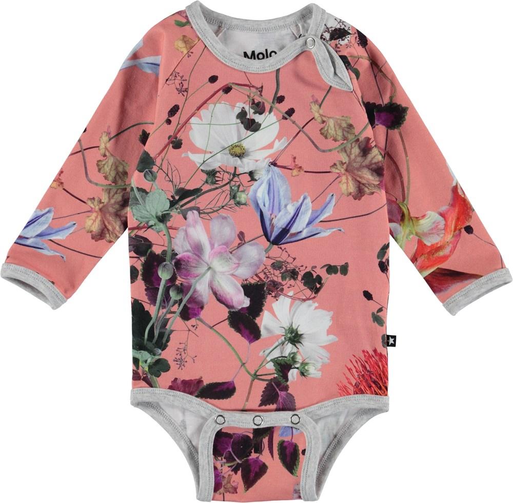 Fonda - Flowers Of The World - Blomstret baby body med lange ærmer.