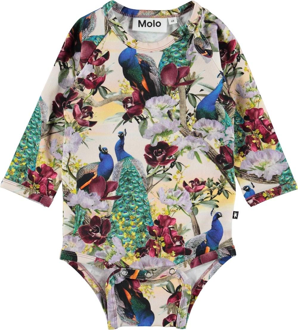 Fonda - Oriental Peacocks - Baby body med påfugle og blomster.