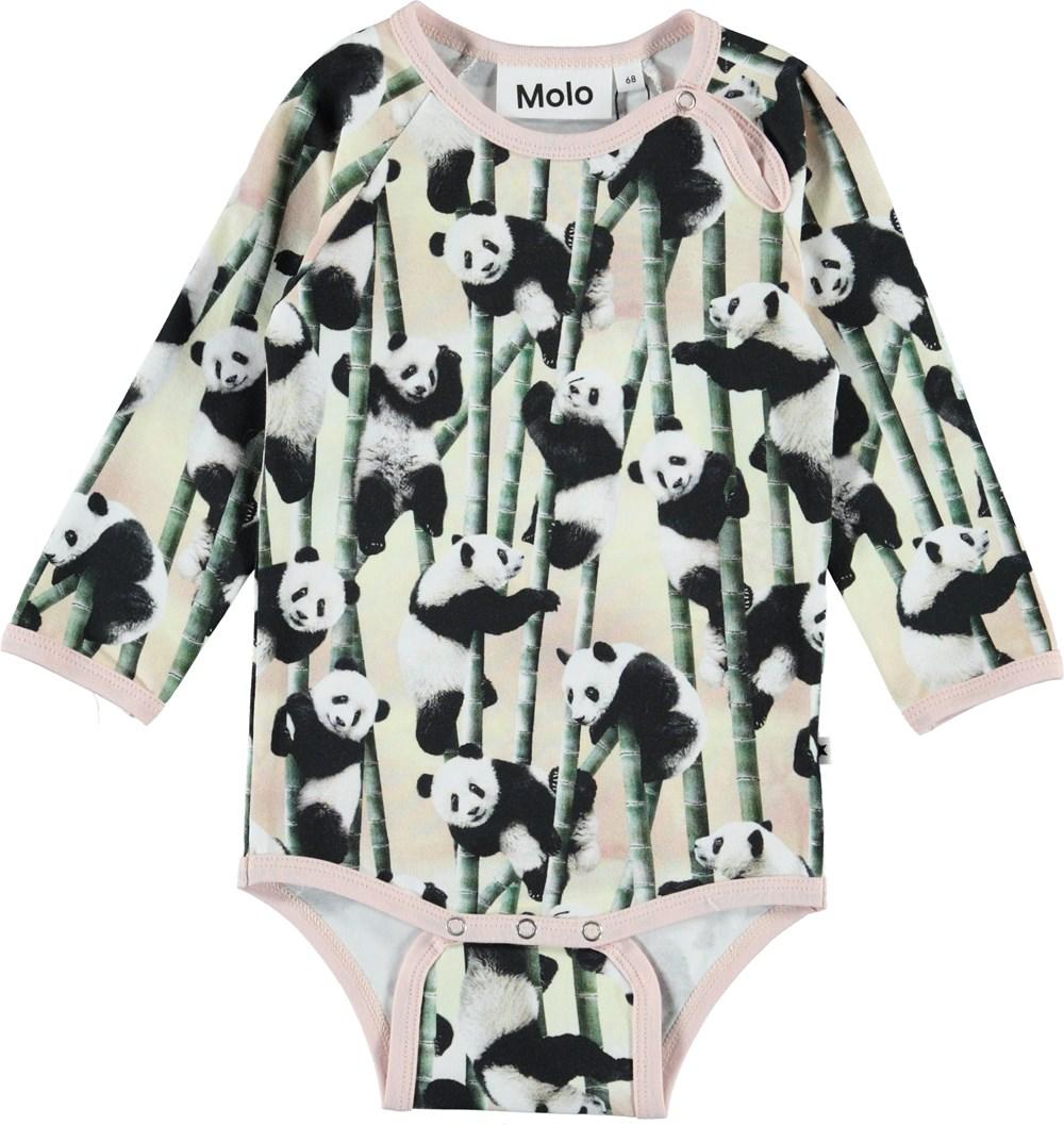 Fonda - Yin Yang - Økologisk baby body med pandaer