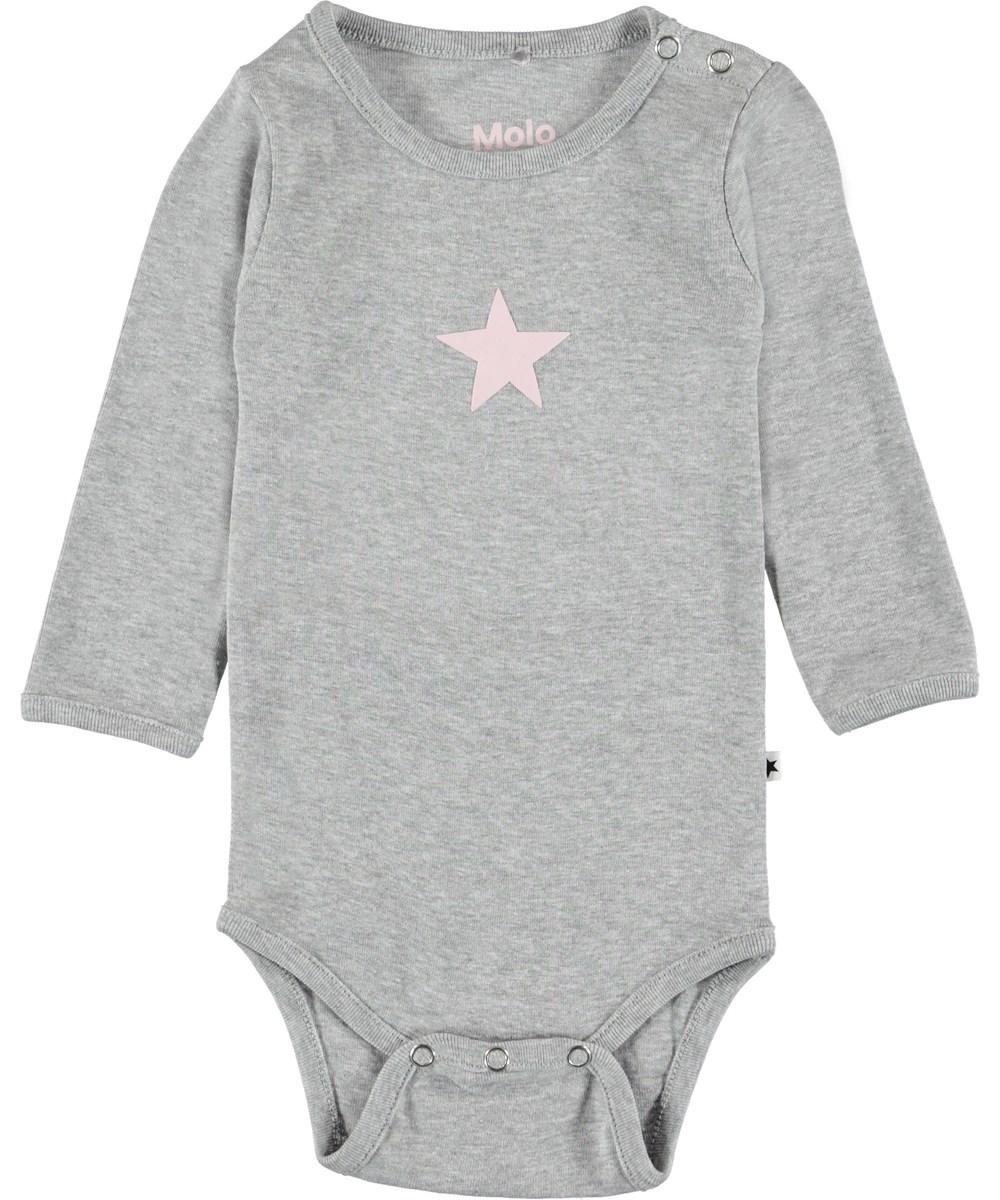 Foss - Light Grey Melange - Grå baby body.