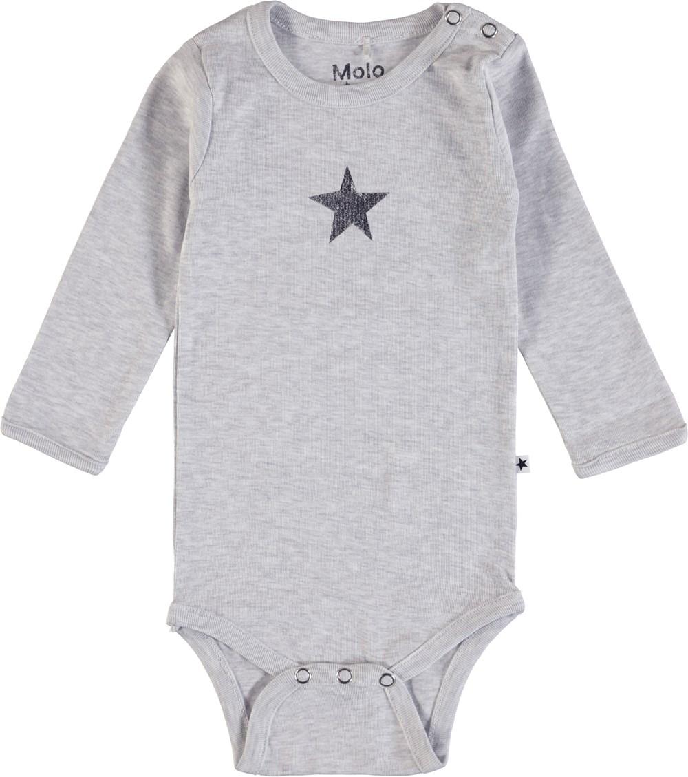 Foss - Snow Melange - Langærmet, grå body med påtrykt stjerne
