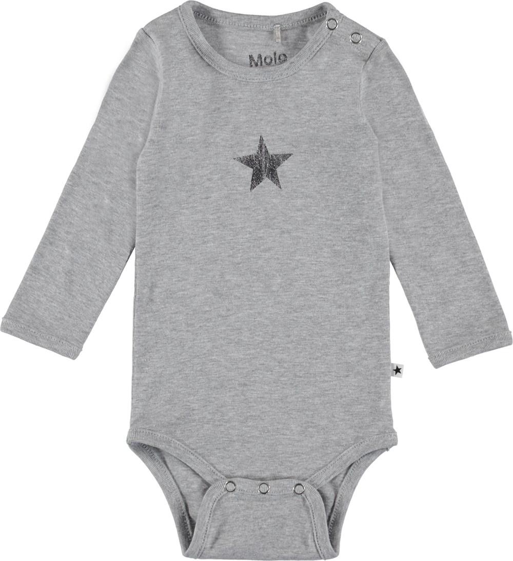 Foss - Light Grey Melange - Langærmet baby body i grå.