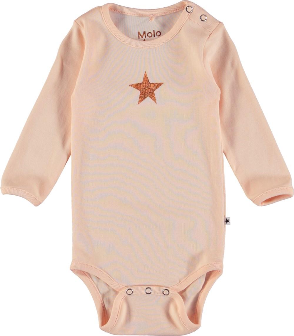 Foss - Dawn - Langærmet, pudderfarvet baby body med påtrykt stjerne