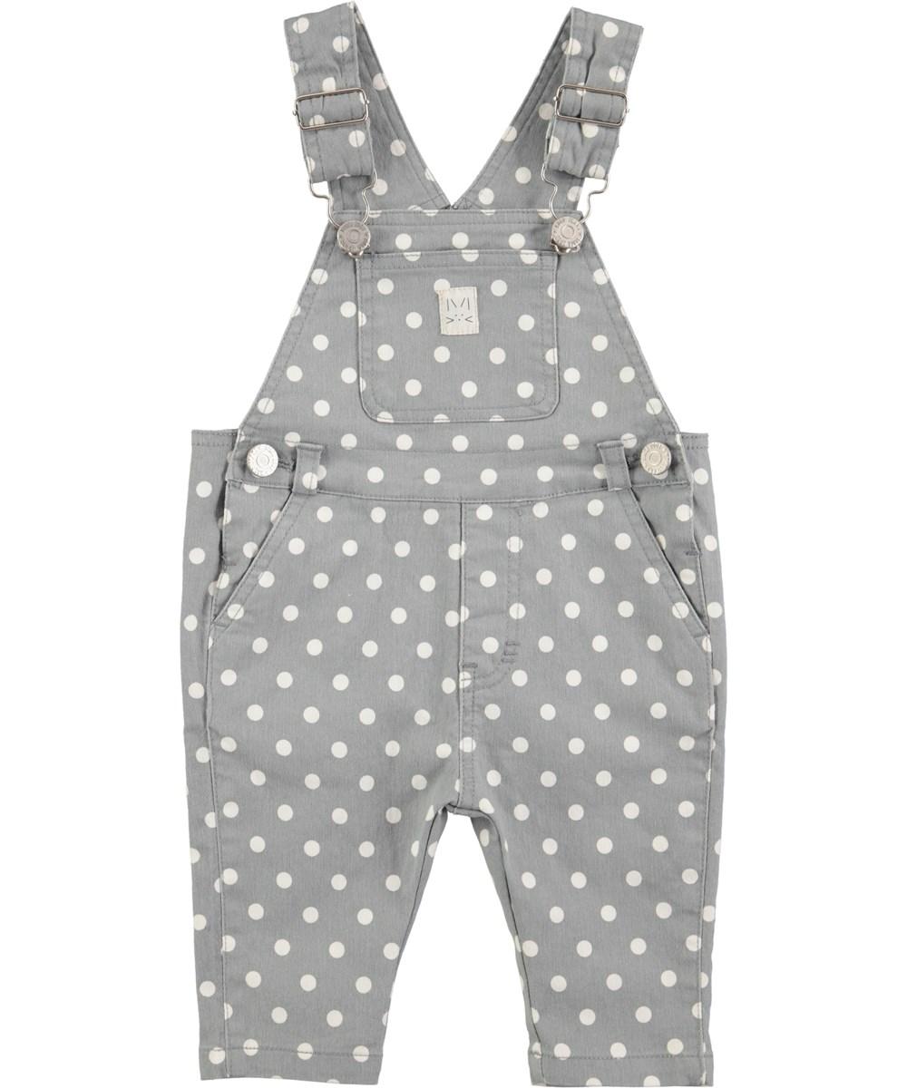Sadie - Grey Sky - Prikkede baby smækbukser i denim