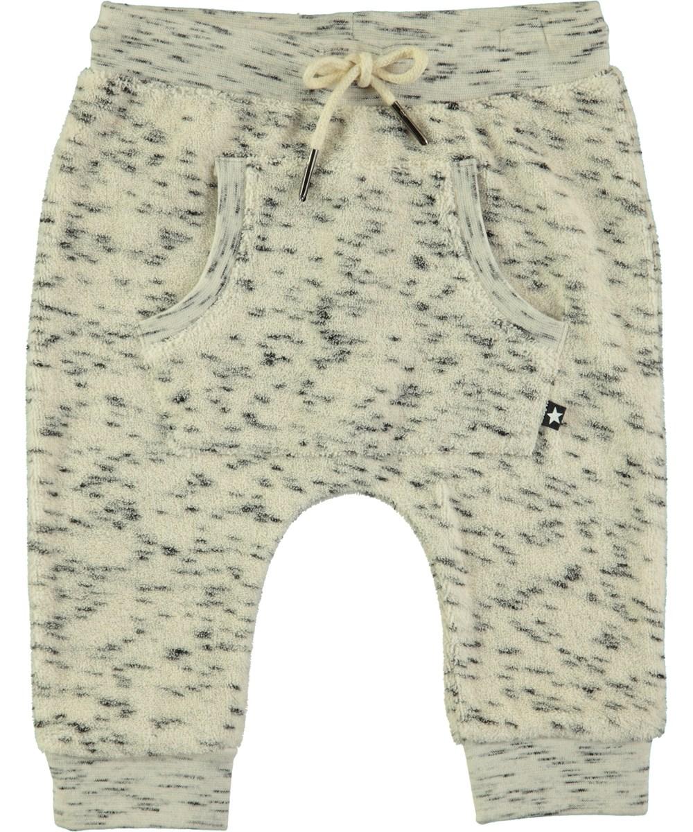 Sandie - Black Neps - Cremefarvede baby bukser i frotte