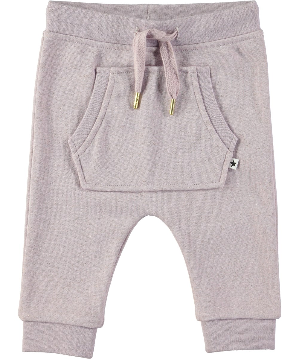 Sandie - Lilac - Lilla baby sweatpants med glimmer