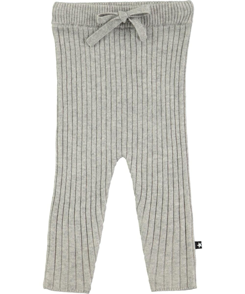 Shadow - Grey Melange - Grå strikbukser
