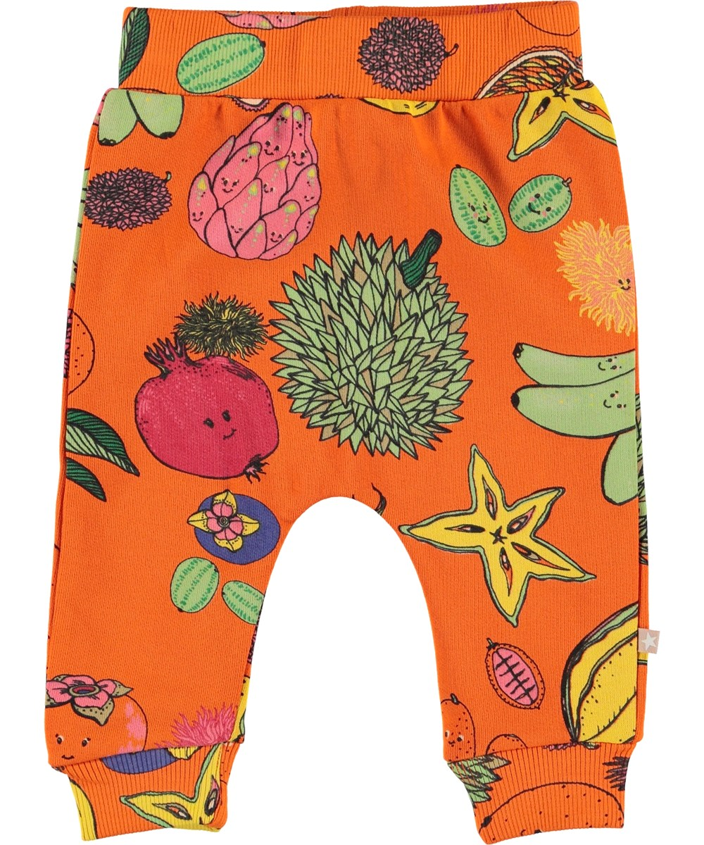 Shona - Friendly Fruits - Orange baby sweatpants med frugter