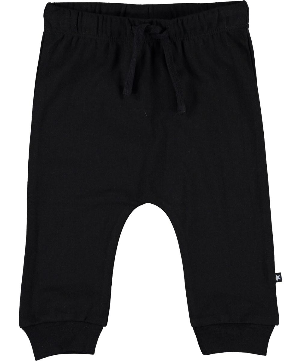 Sille - Black - Sorte baby bukser med bindebånd