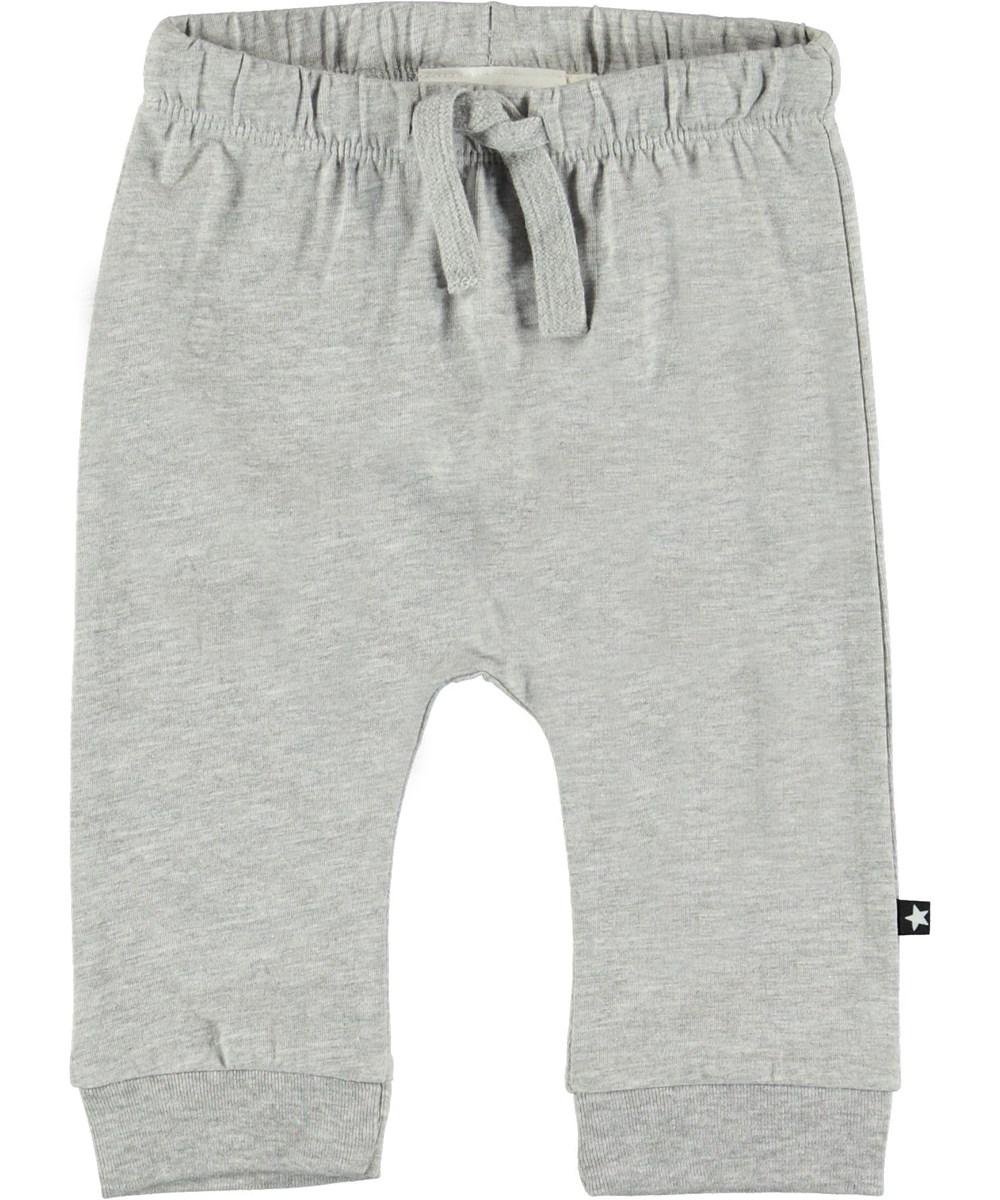 Sille - Light Grey Melange - Grå baby bukser.