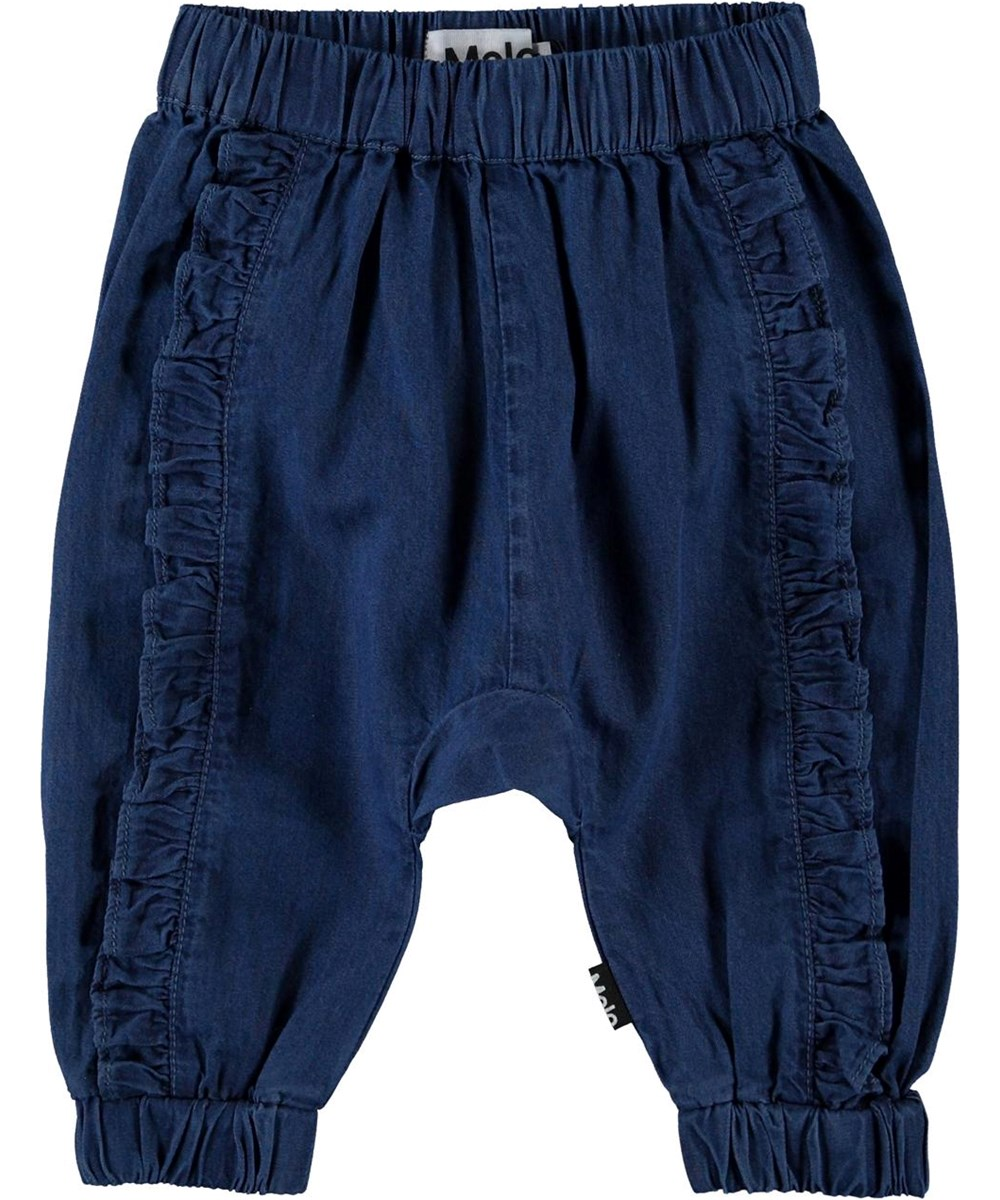 Sophia - Washed Blue - Blå baby bukser med flæse