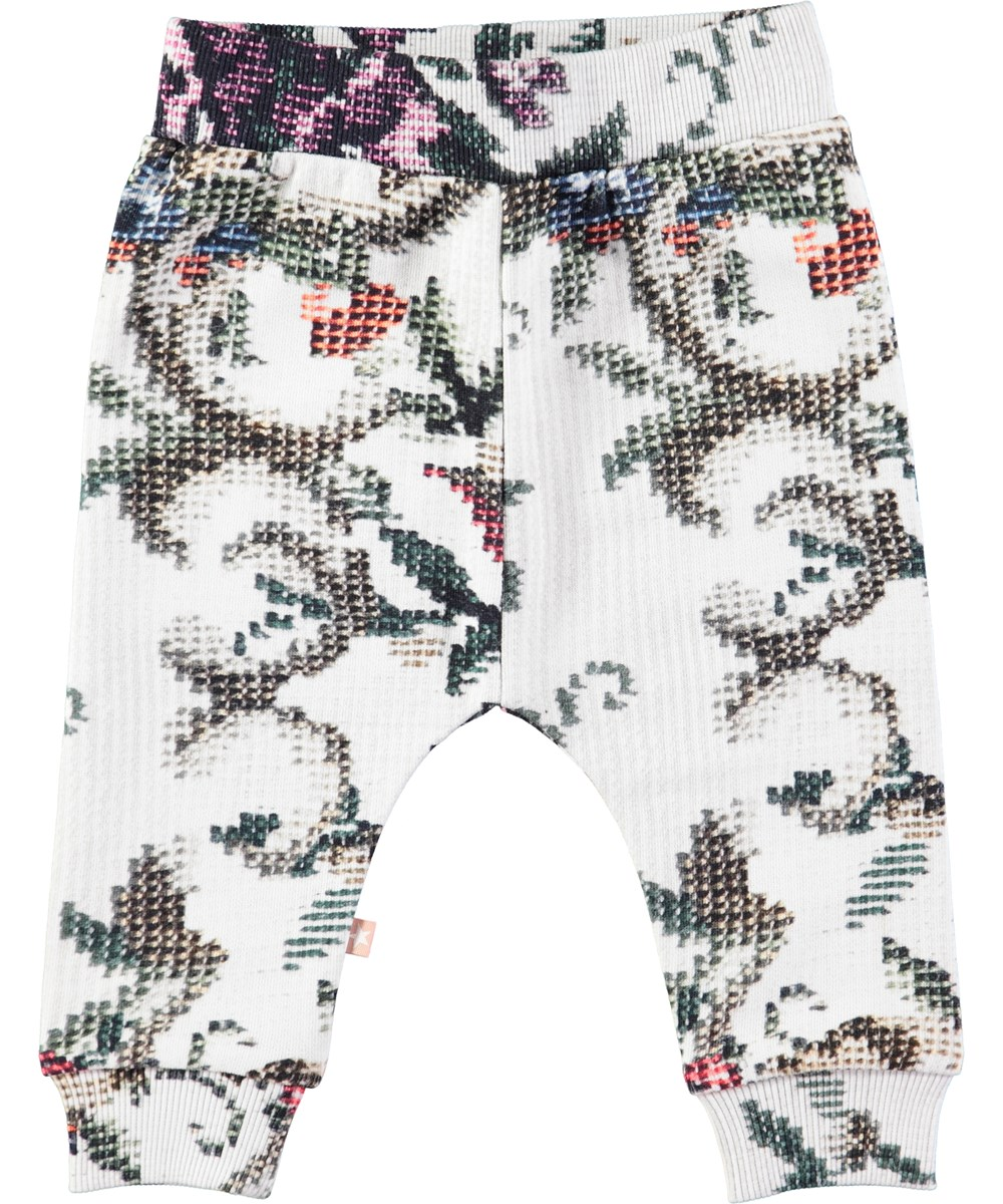 Susanne - Cross Stitch - Baby sweatpants med digitalprintede, farvede korssting