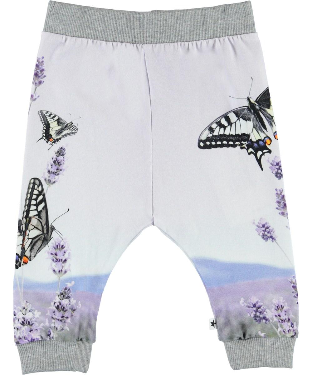 Susanne - Lavender Butterfly - Økologiske baby bukser med sommerfugle