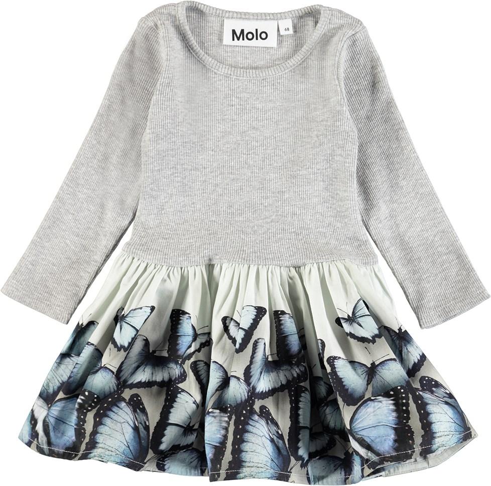 Candi - Blue Wings - Baby kjole i todelt look med digitalprintede sommerfugle