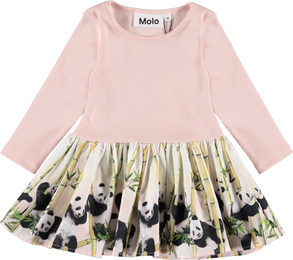 Candi - Panda Party Baby - Baby kjole med lyserød rib og pandaer