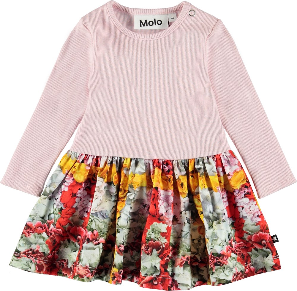 Carel - Checked Flowers - Baby bluse med blomster tern.