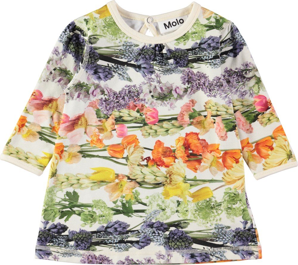 Caroline - Rainbow Bloom - Sød, langærmet baby kjole med digitalprintede blomster