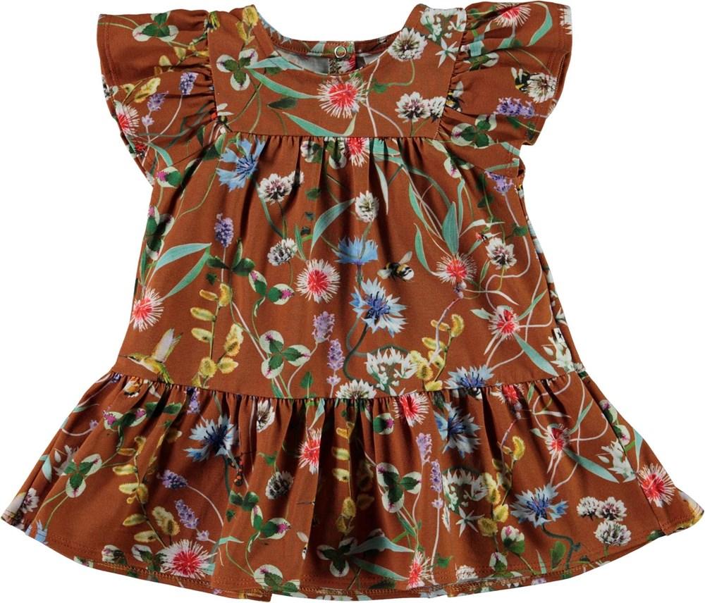 Carolle - Wildflowers - Økologisk brun baby kjole med blomster