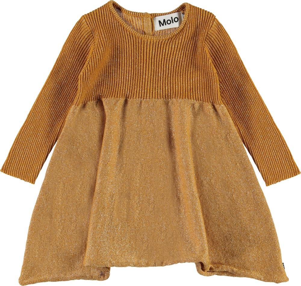 Cass - Autumn Leaf - Gylden baby strik kjole