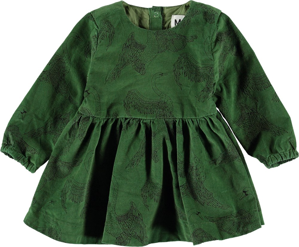 Celia - Swan Dance - Grøn baby kjole i fløjl.