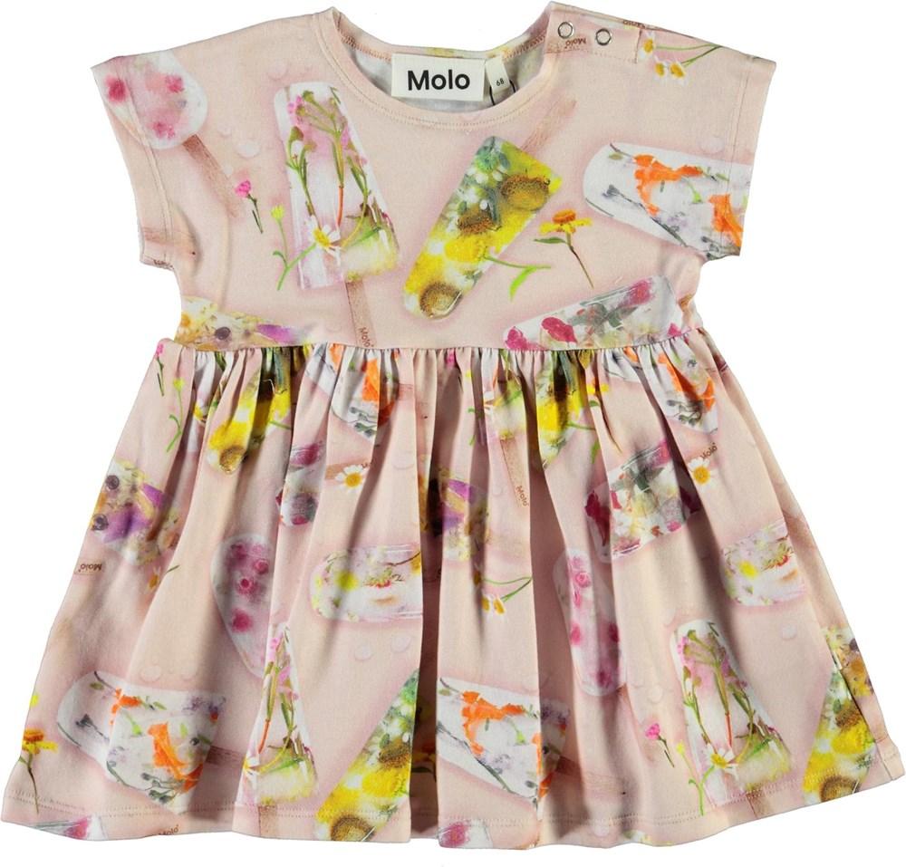 Channi - Ice Lollies - Økologisk lyserød baby kjole med is