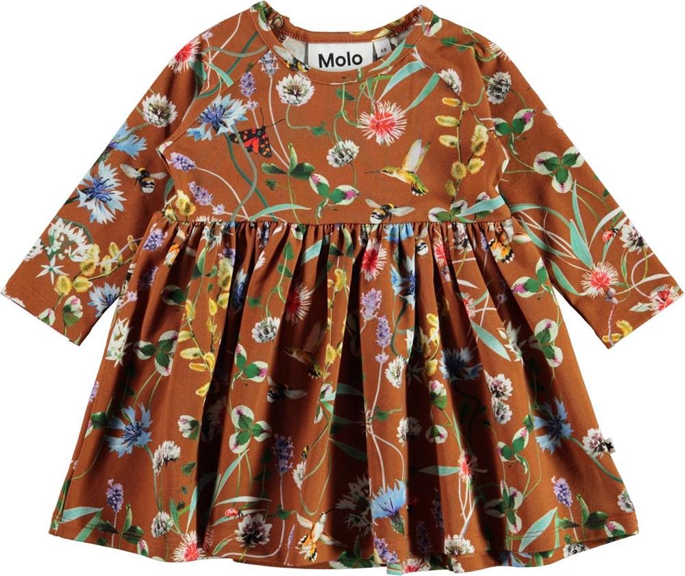 Charmaine - Wildflowers - Økologisk baby kjole i brun med blomster