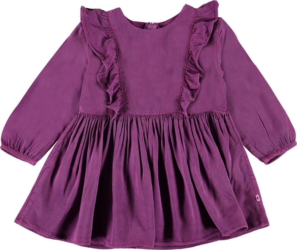 Chocho - Amethyst - Lilla baby kjole med flæser