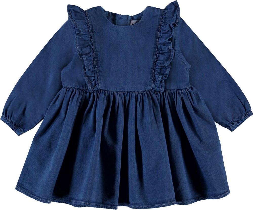 Chocho - Washed Blue - Blå denim baby kjole