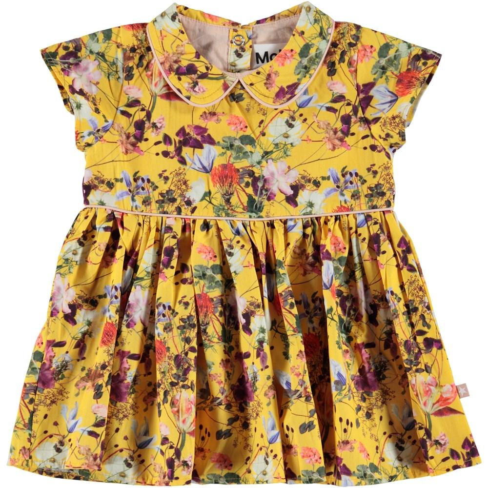 Cinna - Sunrise Flowers - Gul poplin kjole med blomster.