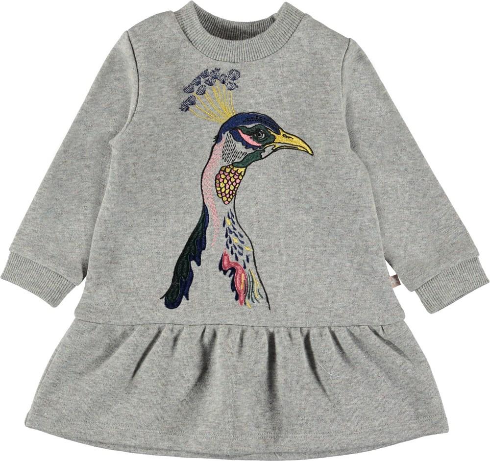 Claribella - Sweetie Peacock - Grå baby sweatshirt kjole.