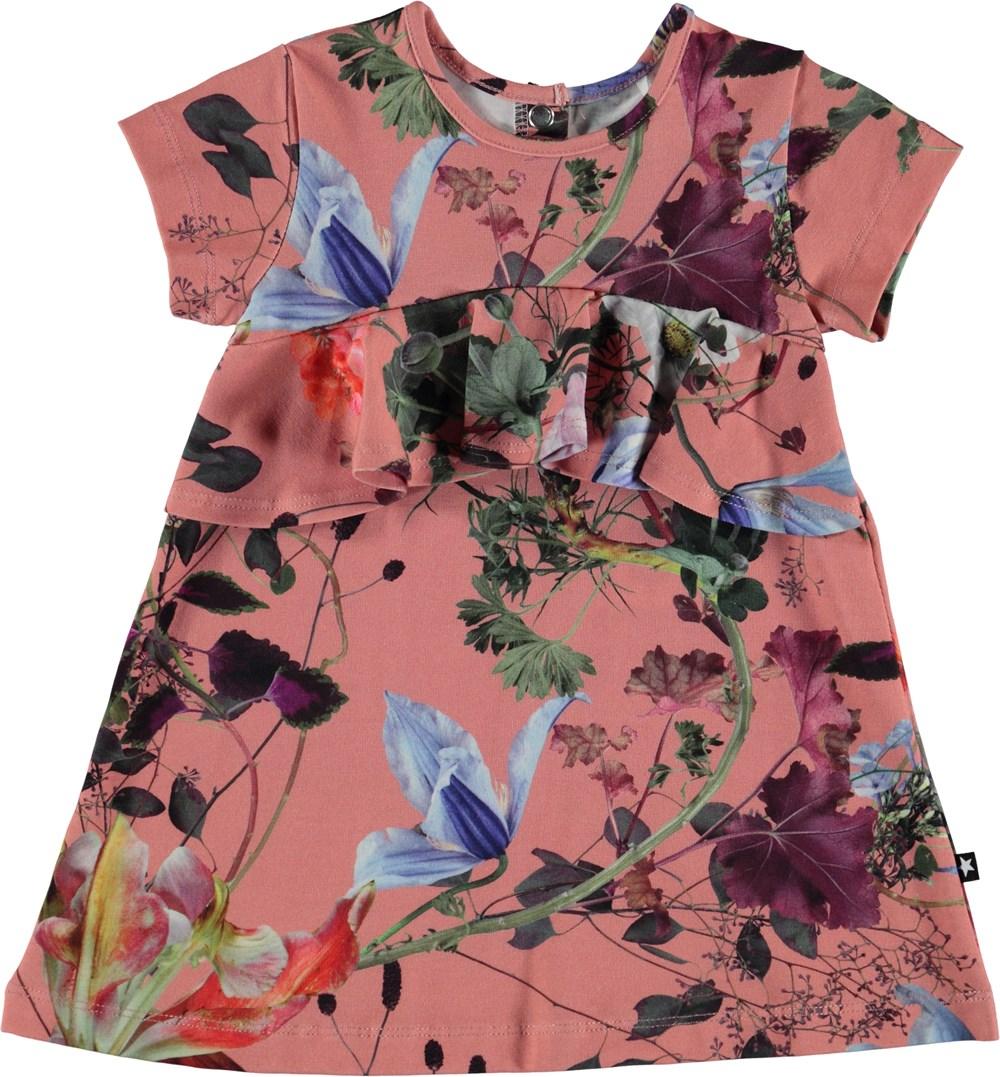 Cloud - Flowers Of The World - Baby kjole med flæsekant.