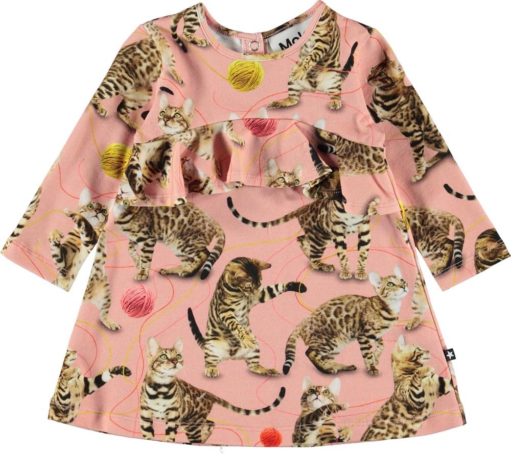 Coletta - Wannabe Leopard - Lyserød baby kjole med katte.