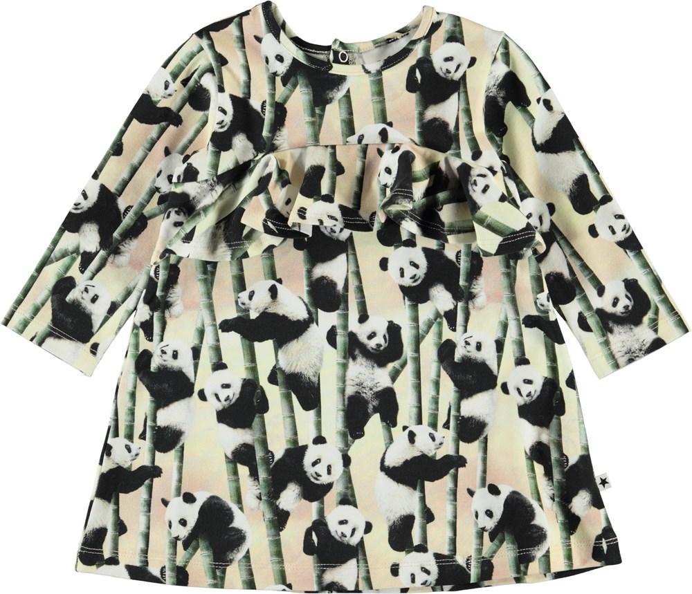 Coletta - Yin Yang - Baby kjole med pandaer og flæse