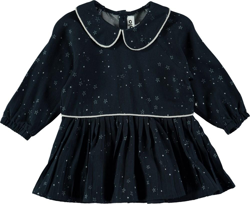 Crystala - Navy Stargazer - Blå kjole med krave og skørt