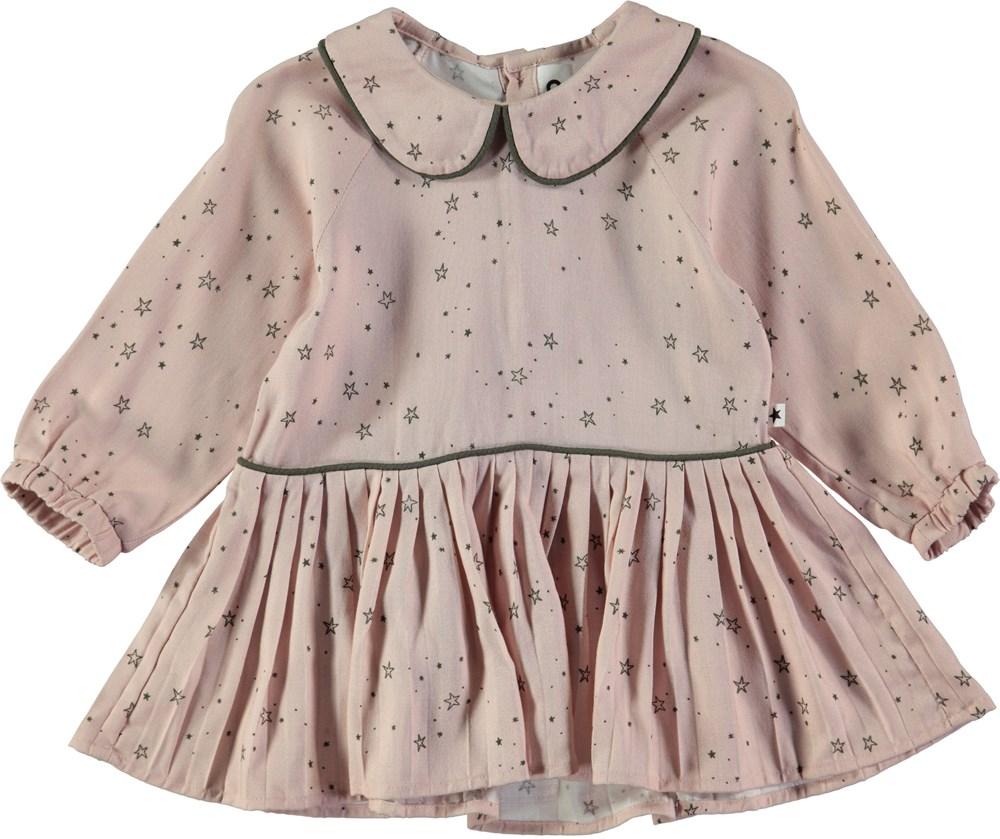 Crystala - Rose Stargazer - Lyserød kjole med krave og skørt