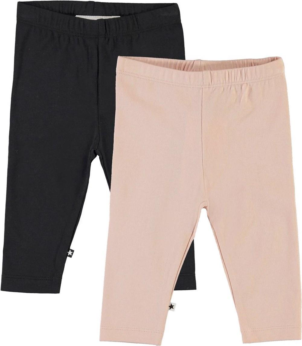 Nette 2-pack - Black Rose - Økologisk 2-pack baby leggings sort og rosa