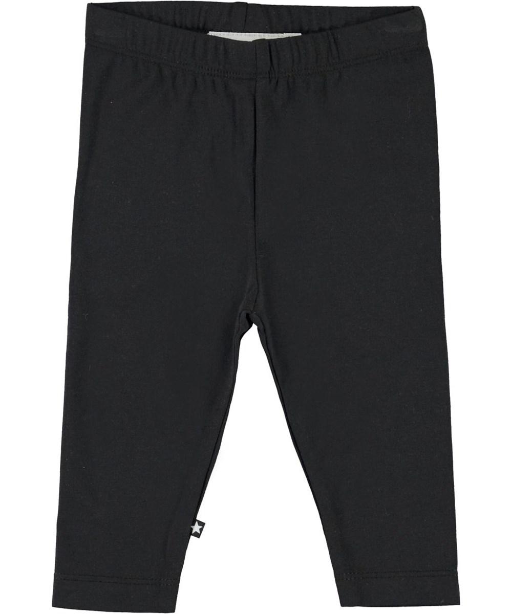 Nette solid - Black - Økologiske sorte baby leggings