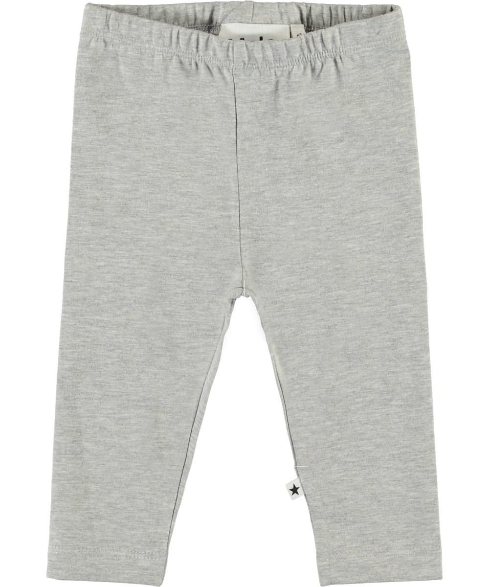 Nette Solid - Light Grey Melange - Økologiske lysegrå baby leggings