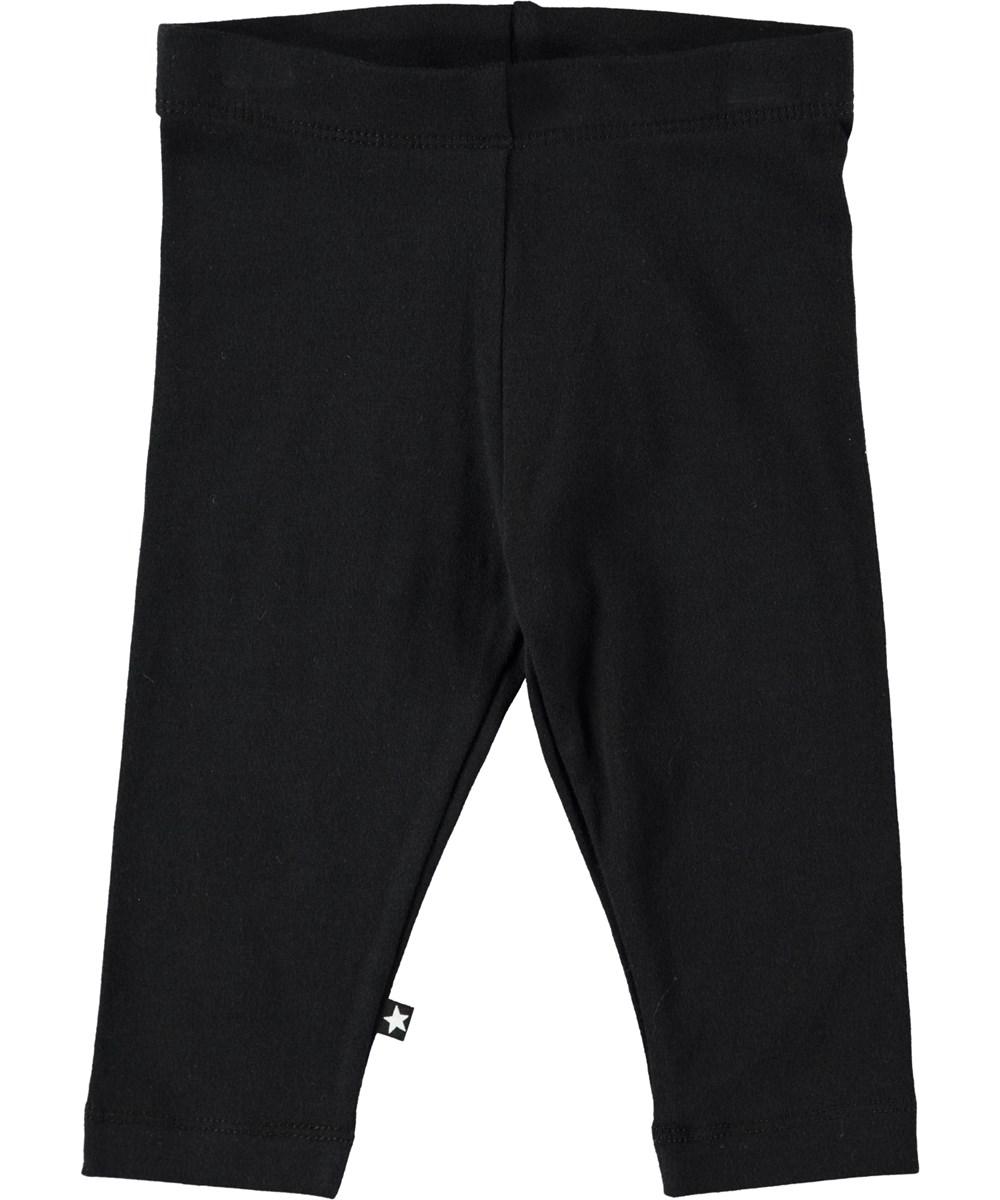 Nette solid - Black - Sorte baby leggings